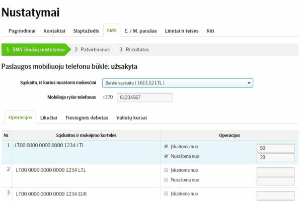 SEB bankas SMS nustatymai-